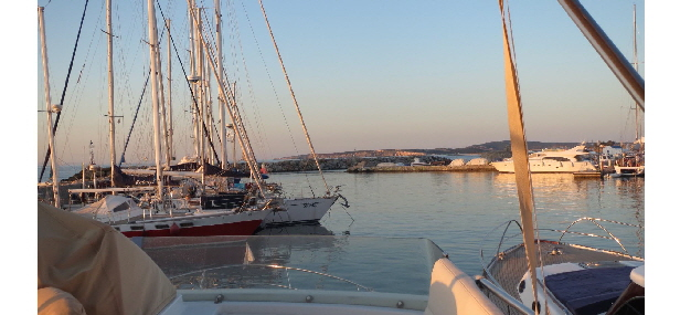Naoussa Marina, golden evening sun