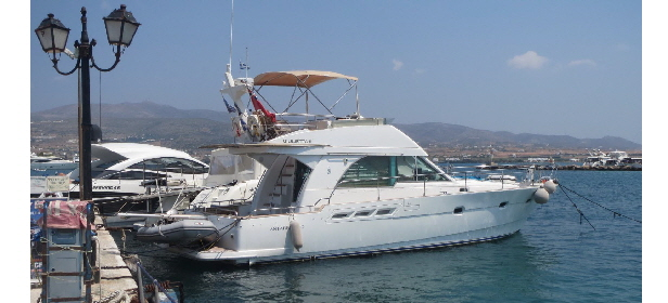 Giulietta II from the quay, Anti-Paros Port