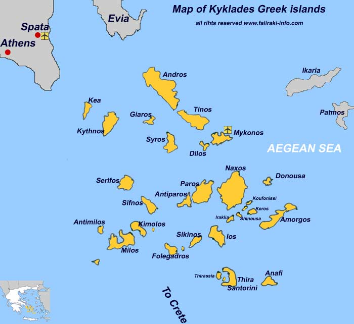 Map of the Greek Cyclades Islands
